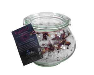 BadeKönigsSalz mit Rosenblüten Schmuckglas 500g